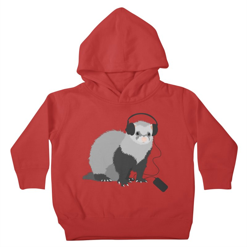 Funny Music Lover Ferret Kids Toddler Pullover Hoody by Boriana's Artist Shop