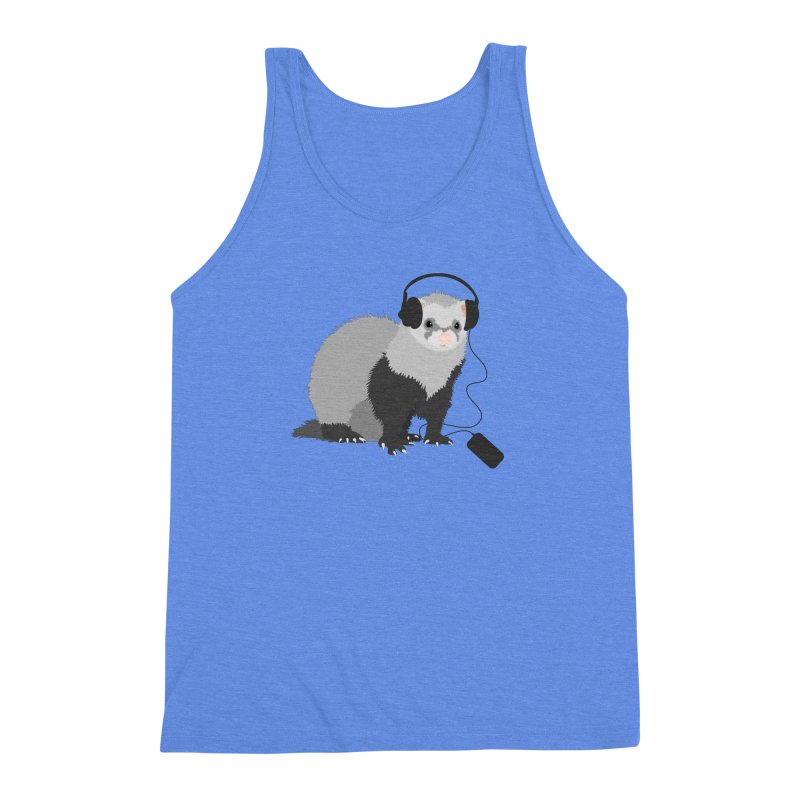 Funny Music Lover Ferret Men's Triblend Tank by Boriana's Artist Shop
