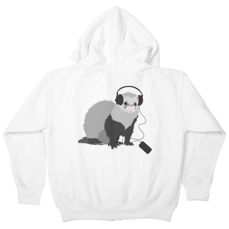 Funny Music Lover Ferret Kids Zip-Up Hoody by Boriana's Artist Shop