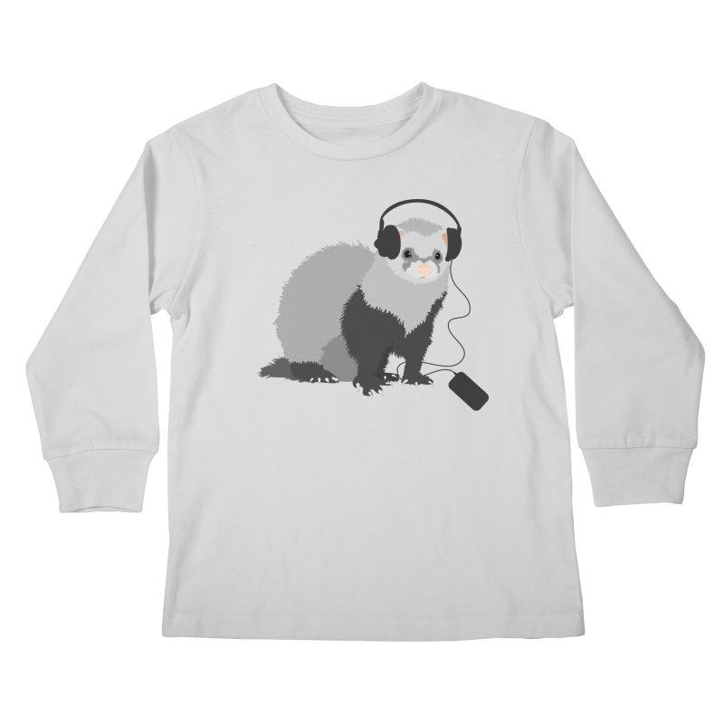 Funny Music Lover Ferret Kids Longsleeve T-Shirt by Boriana's Artist Shop