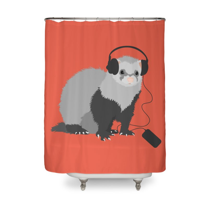 Funny Music Lover Ferret Home Shower Curtain by Boriana's Artist Shop
