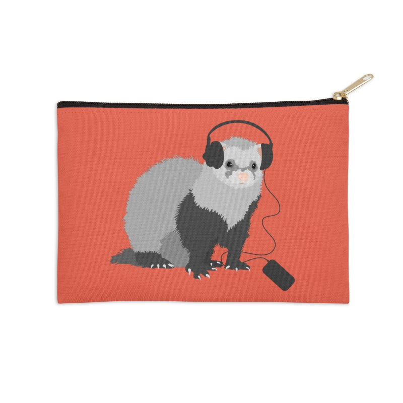 Funny Music Lover Ferret Accessories Zip Pouch by Boriana's Artist Shop