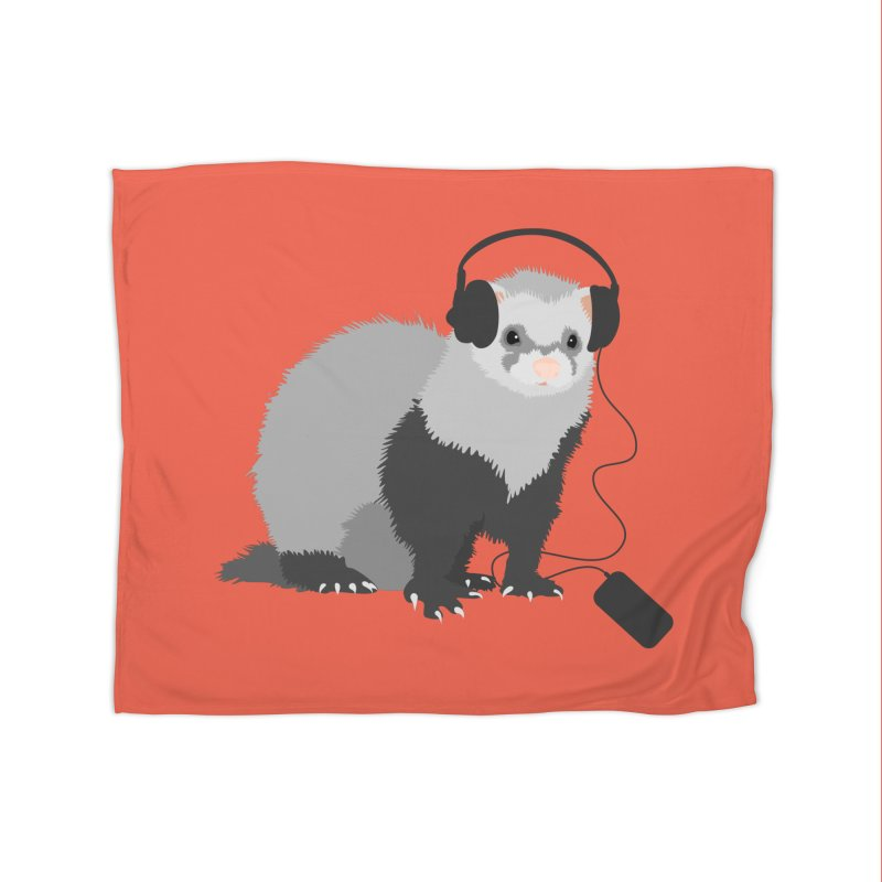 Funny Music Lover Ferret Home Blanket by Boriana's Artist Shop