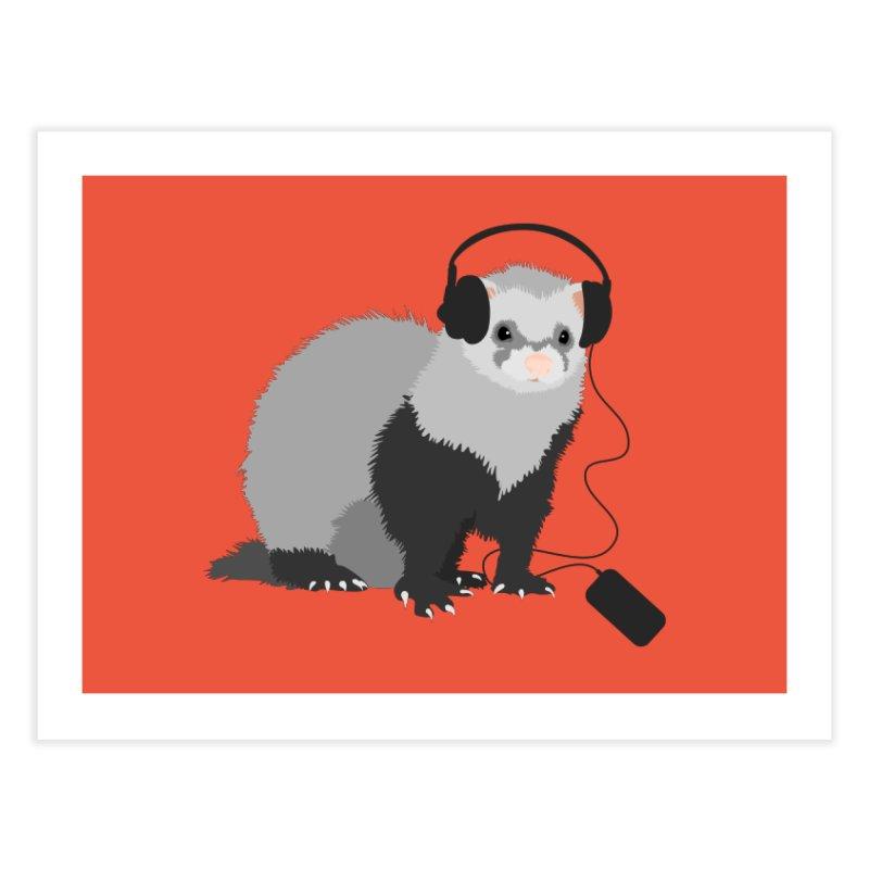 Funny Music Lover Ferret Home Fine Art Print by Boriana's Artist Shop