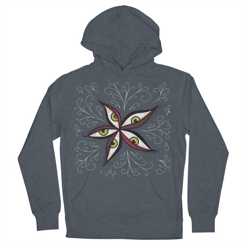 Weird Abstract Green Eyes Flower Men's Pullover Hoody by Boriana's Artist Shop