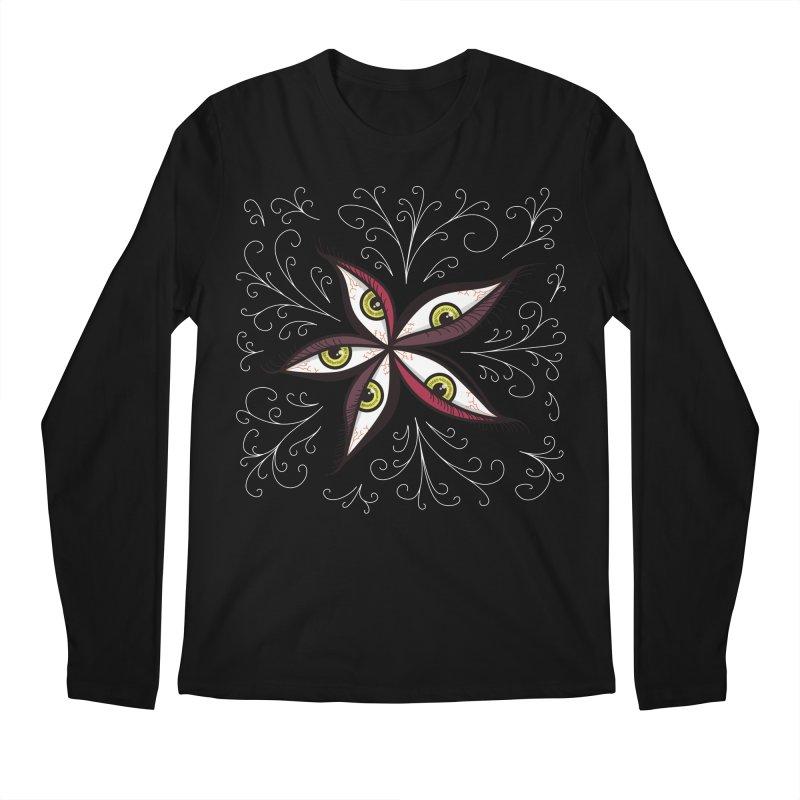 Weird Abstract Green Eyes Flower Men's Longsleeve T-Shirt by Boriana's Artist Shop