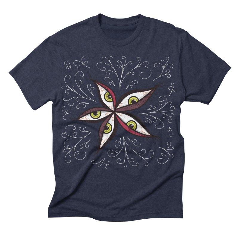 Weird Abstract Green Eyes Flower Men's Triblend T-shirt by Boriana's Artist Shop