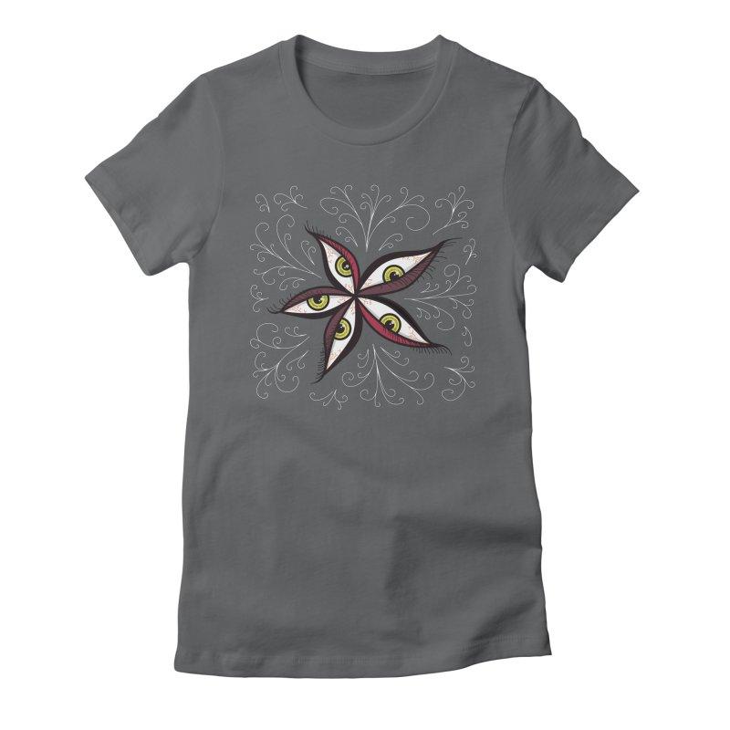 Weird Abstract Green Eyes Flower Women's Fitted T-Shirt by Boriana's Artist Shop