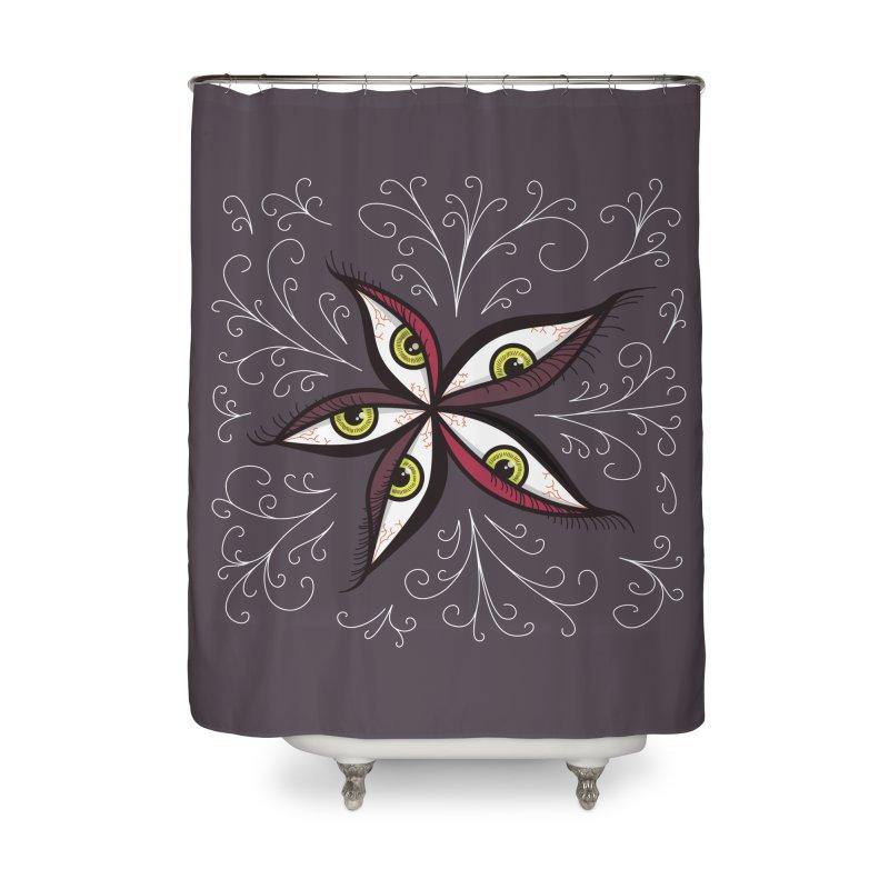 Weird Abstract Green Eyes Flower Home Shower Curtain by Boriana's Artist Shop