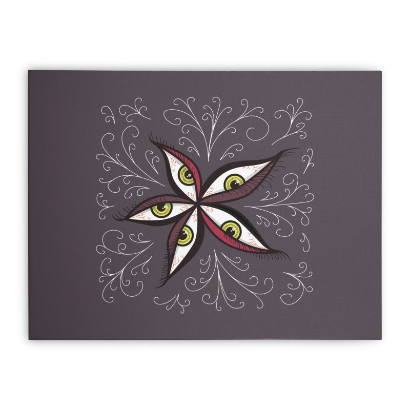 Weird Abstract Green Eyes Flower Home Stretched Canvas by Boriana's Artist Shop