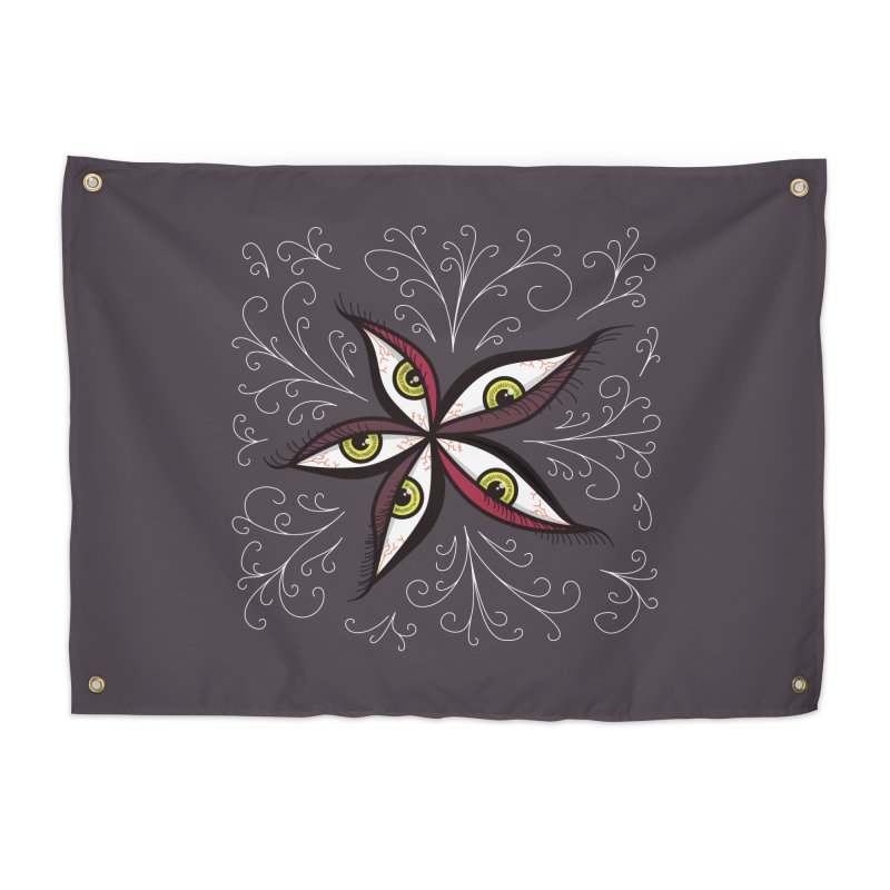 Weird Abstract Green Eyes Flower Home Tapestry by Boriana's Artist Shop