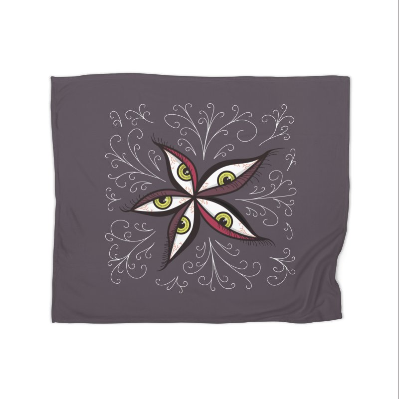 Weird Abstract Green Eyes Flower Home Blanket by Boriana's Artist Shop