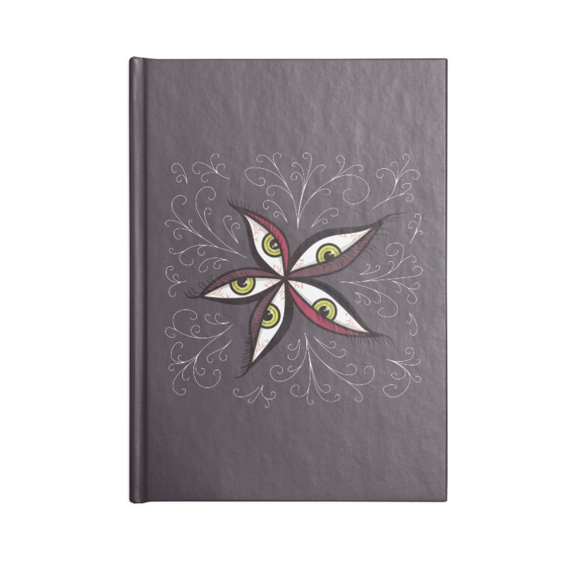 Weird Abstract Green Eyes Flower Accessories Notebook by Boriana's Artist Shop