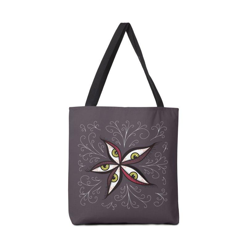 Weird Abstract Green Eyes Flower Accessories Bag by Boriana's Artist Shop