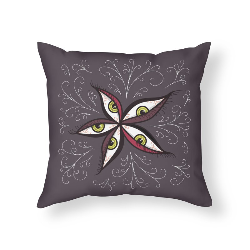 Weird Abstract Green Eyes Flower Home Throw Pillow by Boriana's Artist Shop