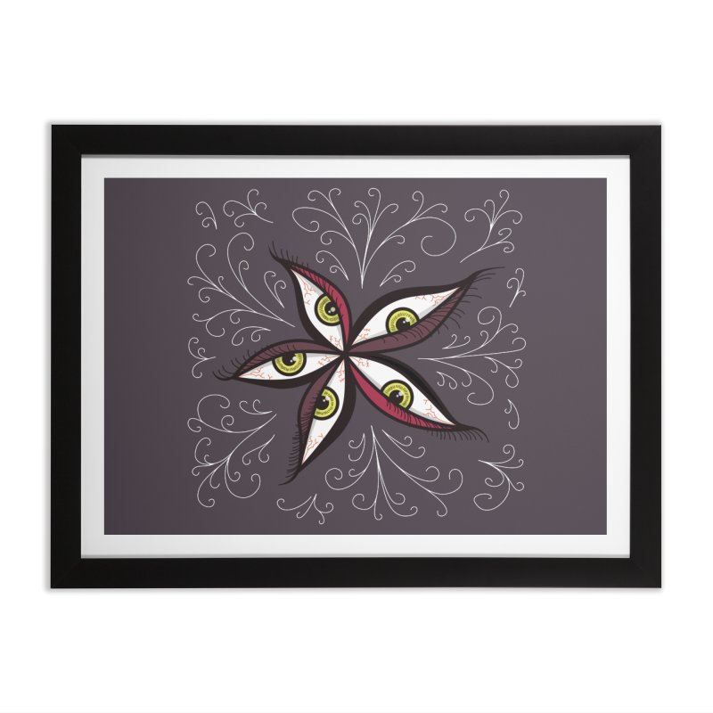 Weird Abstract Green Eyes Flower Home Framed Fine Art Print by Boriana's Artist Shop