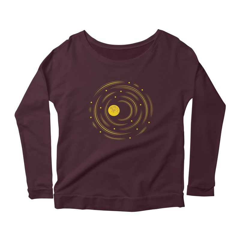 Abstract Moon And Stars Dream Women's Longsleeve Scoopneck  by Boriana's Artist Shop