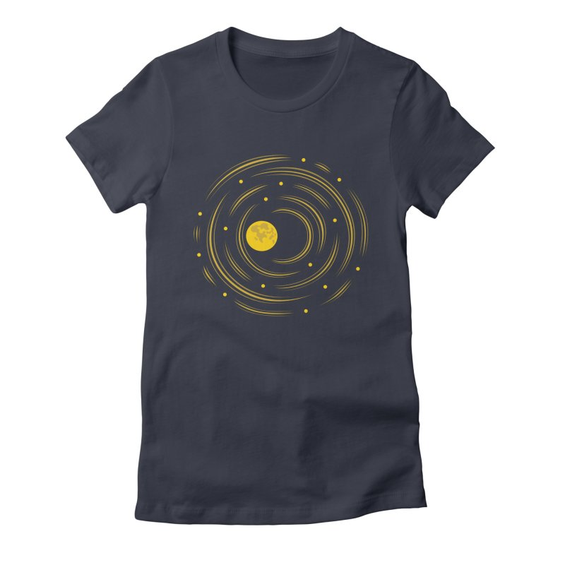 Abstract Moon And Stars Dream Women's Fitted T-Shirt by Boriana's Artist Shop
