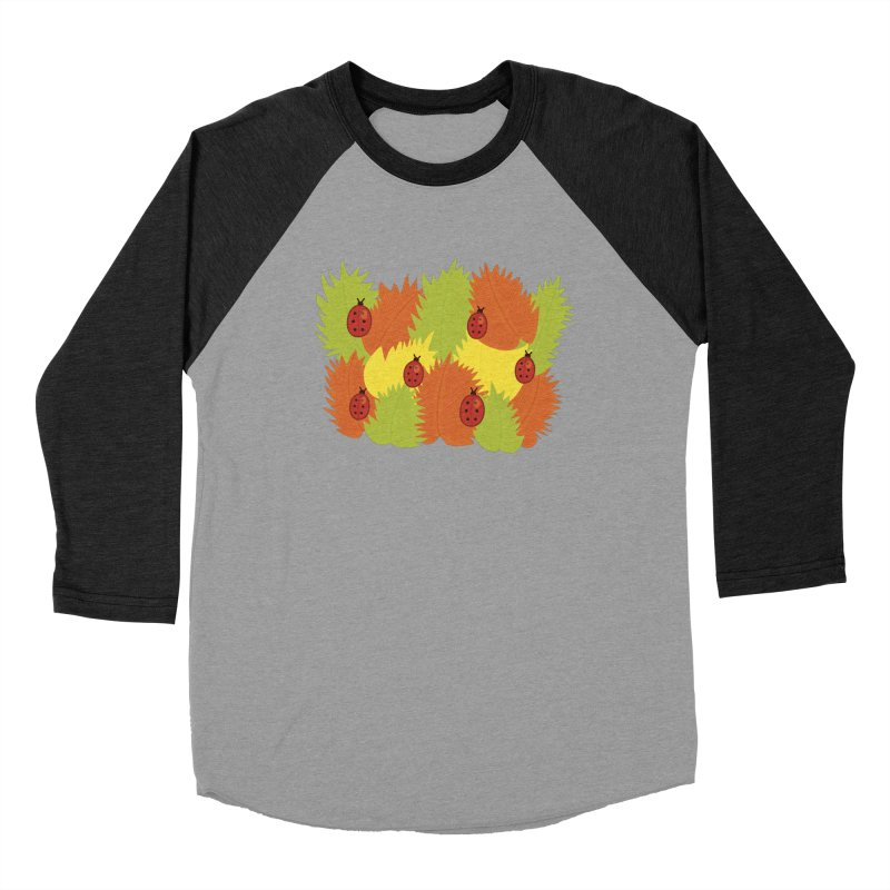 Autumn Leaves And Ladybugs Men's Baseball Triblend T-Shirt by Boriana's Artist Shop