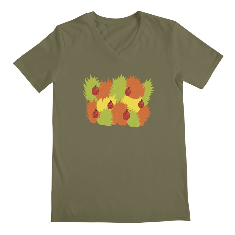 Autumn Leaves And Ladybugs Men's V-Neck by Boriana's Artist Shop
