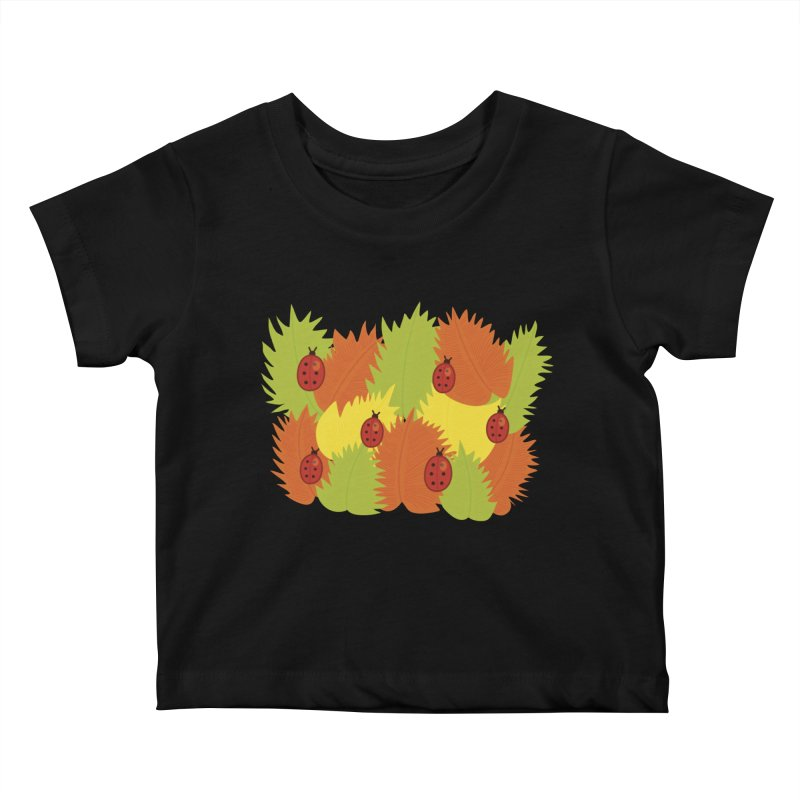 Autumn Leaves And Ladybugs Kids Baby T-Shirt by Boriana's Artist Shop