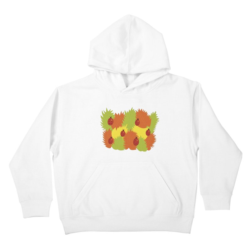 Autumn Leaves And Ladybugs Kids Pullover Hoody by Boriana's Artist Shop