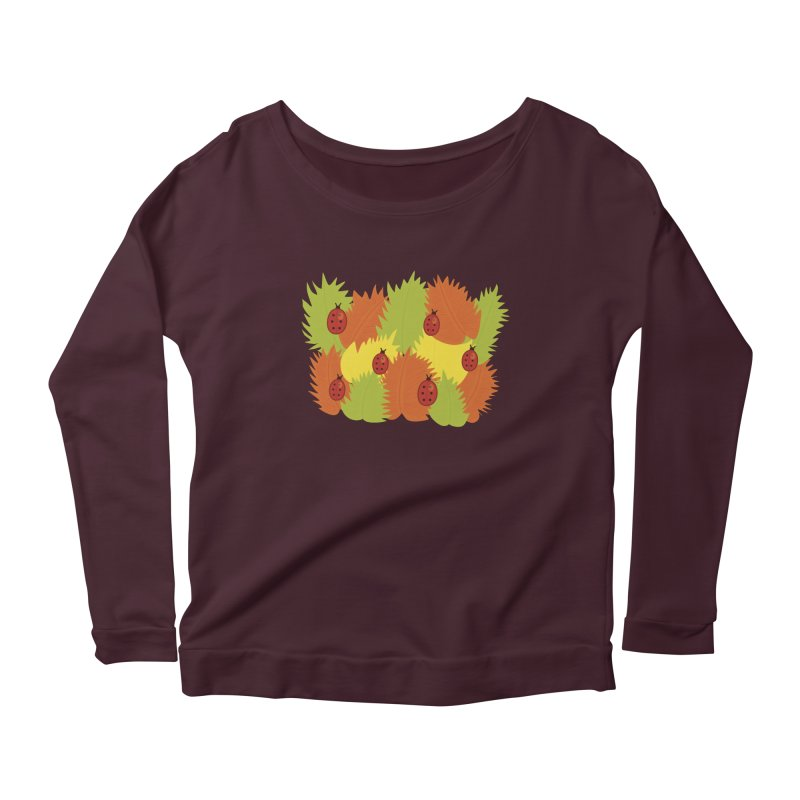 Autumn Leaves And Ladybugs Women's Longsleeve Scoopneck  by Boriana's Artist Shop