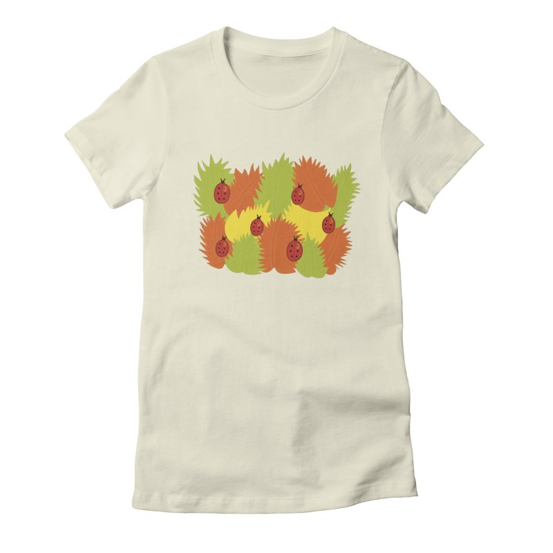 Autumn Leaves And Ladybugs Women's Fitted T-Shirt by Boriana's Artist Shop