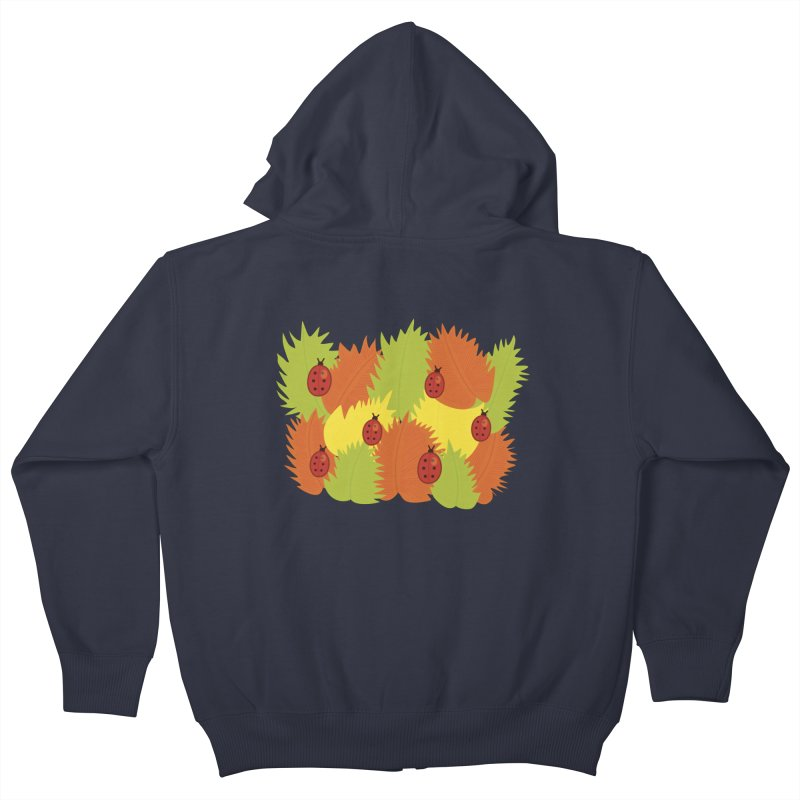 Autumn Leaves And Ladybugs Kids Zip-Up Hoody by Boriana's Artist Shop