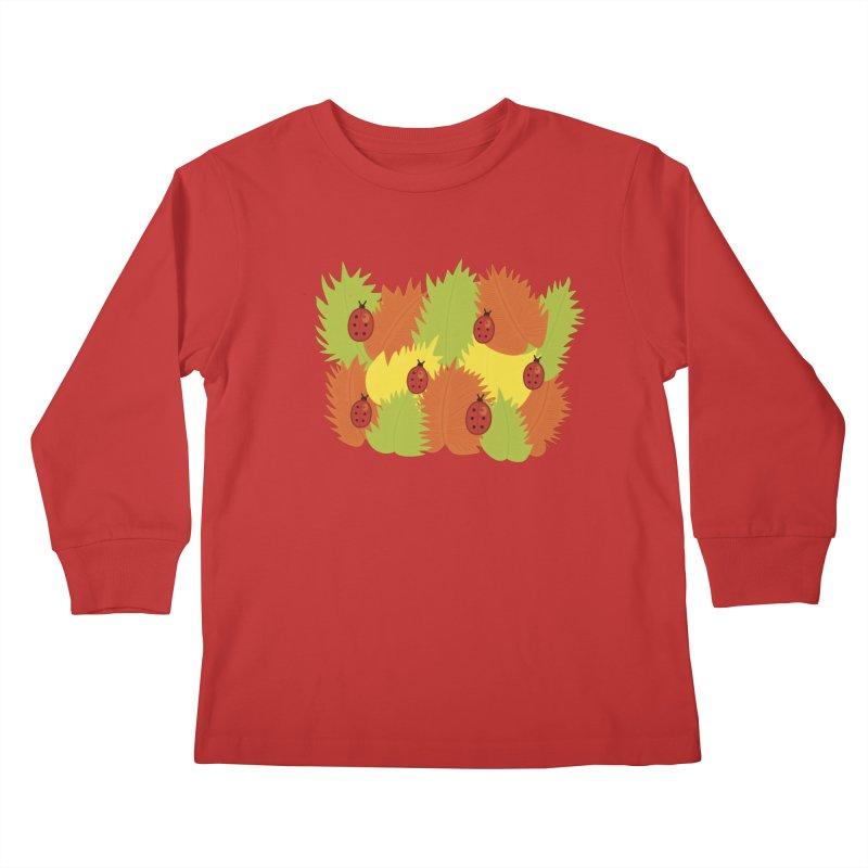 Autumn Leaves And Ladybugs Kids Longsleeve T-Shirt by Boriana's Artist Shop
