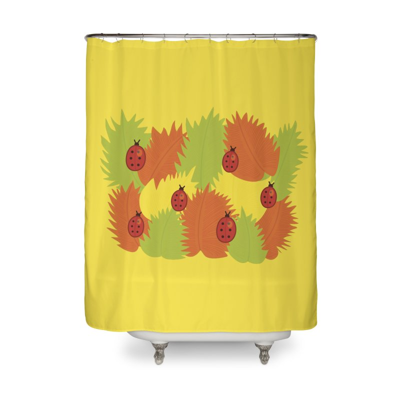 Autumn Leaves And Ladybugs Home Shower Curtain by Boriana's Artist Shop