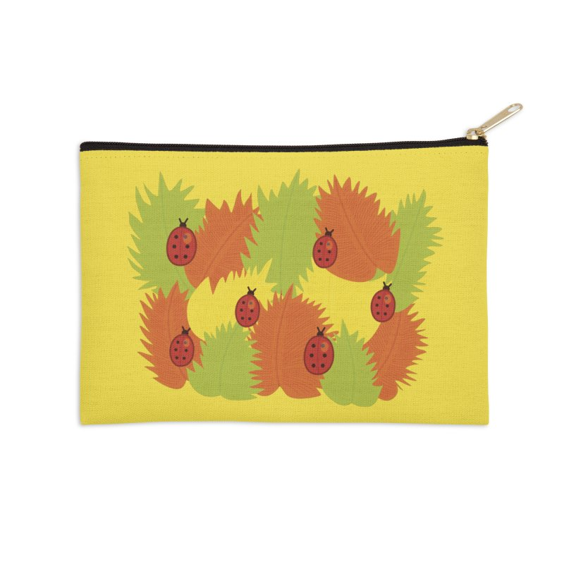 Autumn Leaves And Ladybugs Accessories Zip Pouch by Boriana's Artist Shop