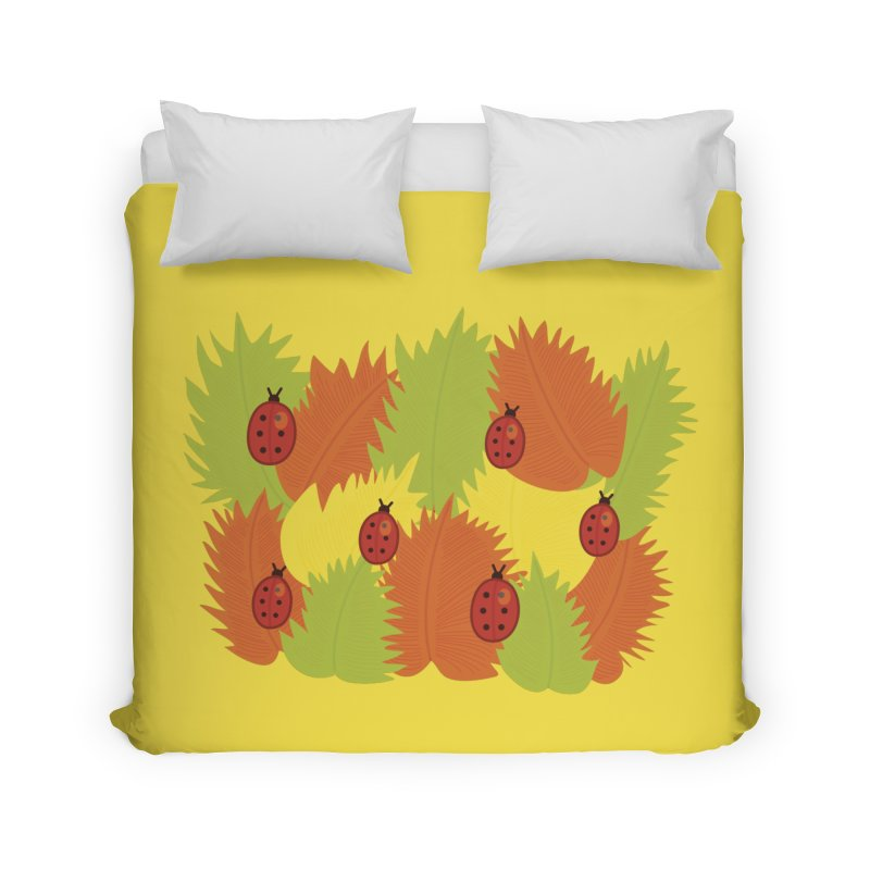 Autumn Leaves And Ladybugs Home Duvet by Boriana's Artist Shop