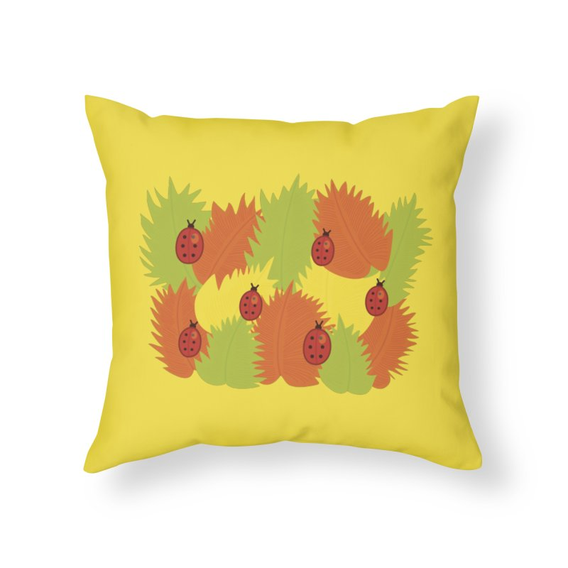 Autumn Leaves And Ladybugs Home Throw Pillow by Boriana's Artist Shop