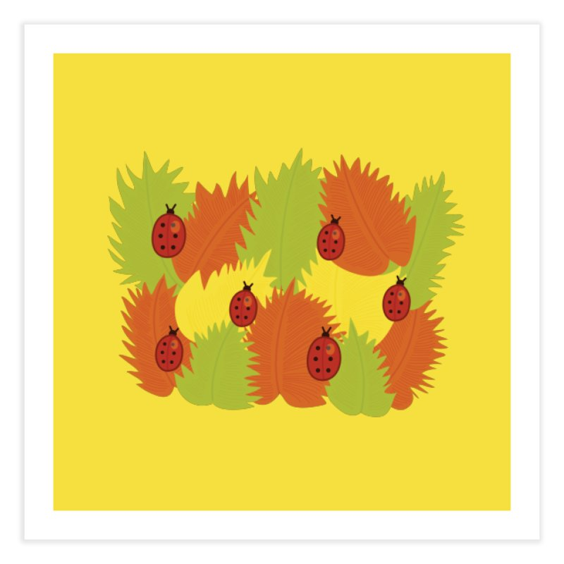 Autumn Leaves And Ladybugs Home Fine Art Print by Boriana's Artist Shop