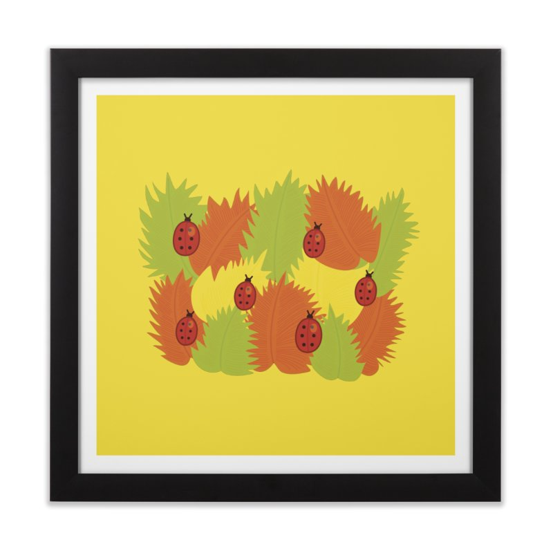 Autumn Leaves And Ladybugs Home Framed Fine Art Print by Boriana's Artist Shop