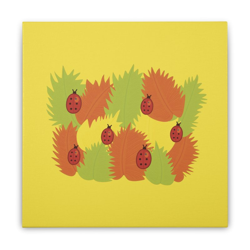 Autumn Leaves And Ladybugs Home Stretched Canvas by Boriana's Artist Shop