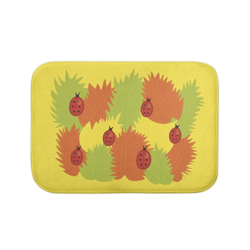 Autumn Leaves And Ladybugs Home Bath Mat by Boriana's Artist Shop