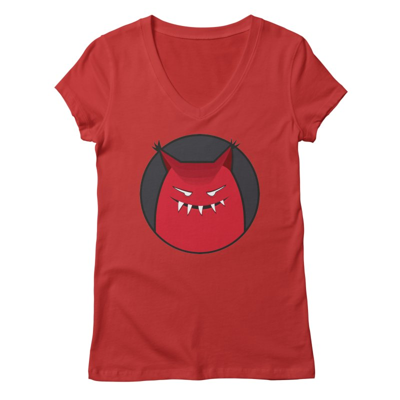 Evil Monster With Pointy Ears Women's V-Neck by Boriana's Artist Shop