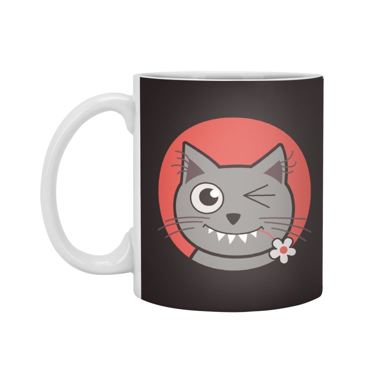 Winking Cartoon Kitty Cat Accessories Mug by Boriana's Artist Shop