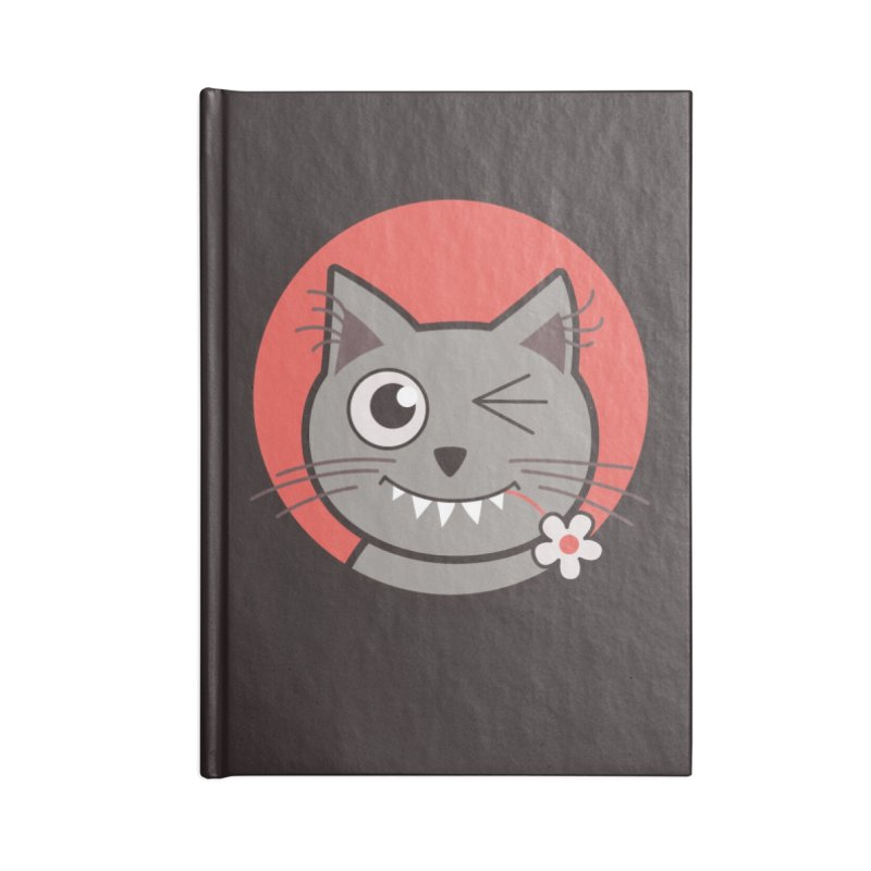 Winking Cartoon Kitty Cat Accessories Notebook by Boriana's Artist Shop