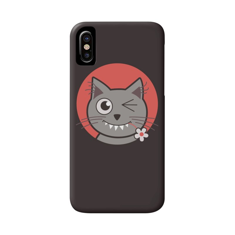 Winking Cartoon Kitty Cat Accessories Phone Case by Boriana's Artist Shop