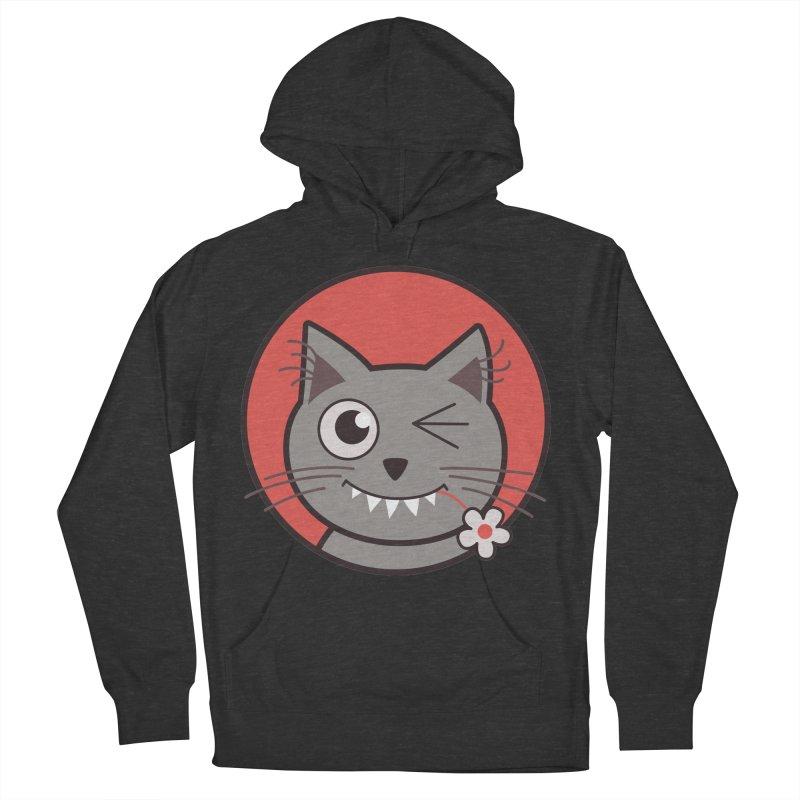 Winking Cartoon Kitty Cat Men's Pullover Hoody by Boriana's Artist Shop
