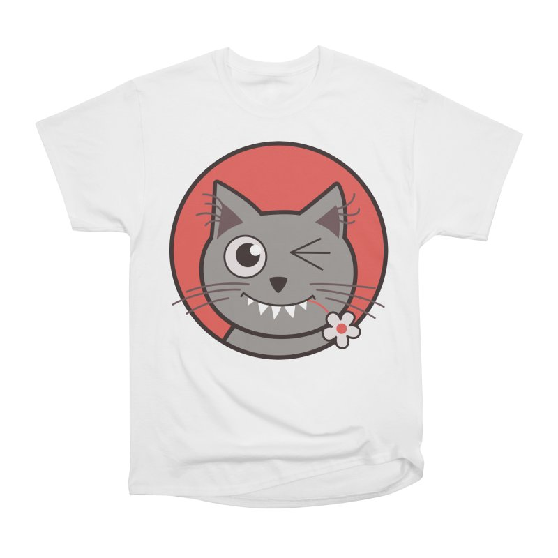 Winking Cartoon Kitty Cat Men's Classic T-Shirt by Boriana's Artist Shop