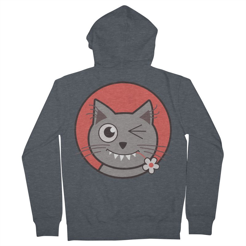 Winking Cartoon Kitty Cat Women's Zip-Up Hoody by Boriana's Artist Shop