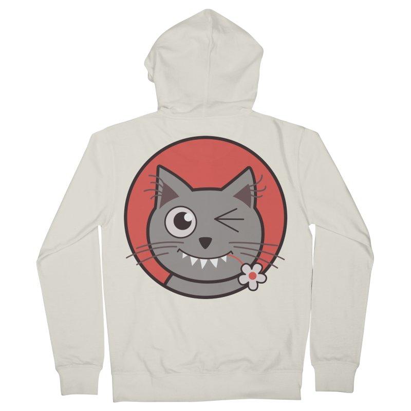 Winking Cartoon Kitty Cat Men's Zip-Up Hoody by Boriana's Artist Shop