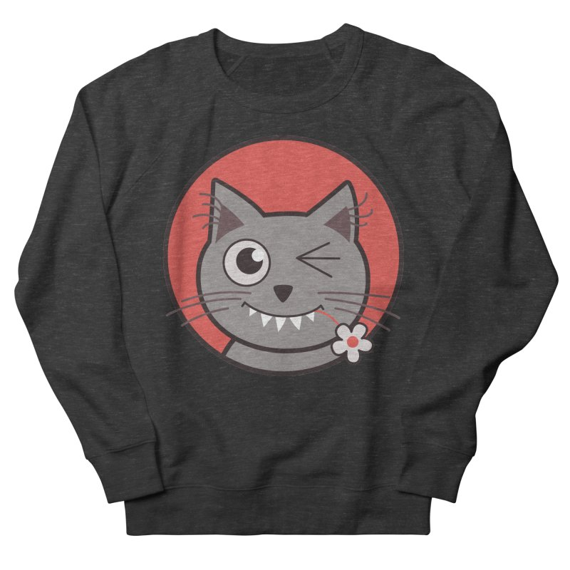 Winking Cartoon Kitty Cat Men's Sweatshirt by Boriana's Artist Shop
