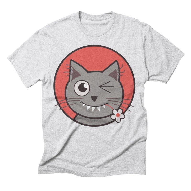 Winking Cartoon Kitty Cat Men's Triblend T-shirt by Boriana's Artist Shop