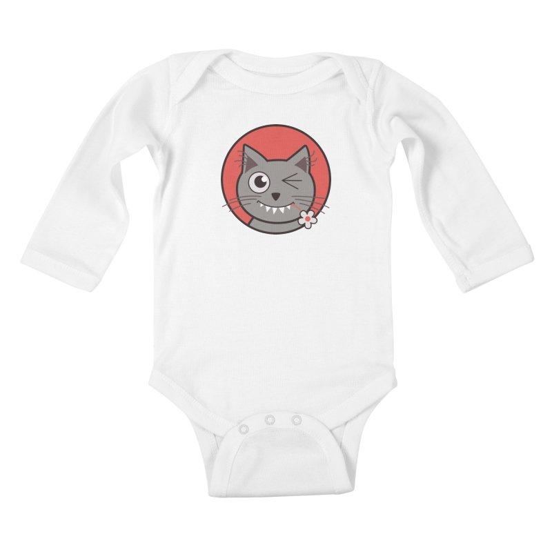 Winking Cartoon Kitty Cat Kids Baby Longsleeve Bodysuit by Boriana's Artist Shop