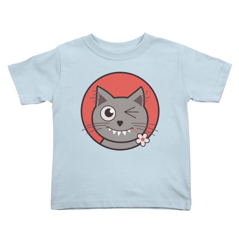 Winking Cartoon Kitty Cat Kids Toddler T-Shirt by Boriana's Artist Shop